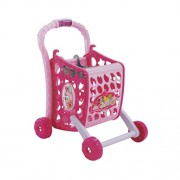 Peepal shop Shopping Cart Pretend Play Toy With Food Fruits Vegetables and Lights Pink (56 Pcs Set) by Muren