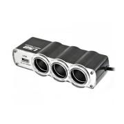 Adaptor bricheta auto 12V - 24V cu 3 iesiri si 1 USB 5V 500 mA