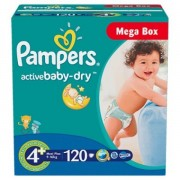 Scutece Pampers Active Baby 4+ Maxi Plus Mega Box 120 buc
