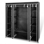 vidaXL Текстилен гардероб с рафтове и лостове, черен, 45 x 150 176 см.
