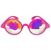 Kaleidoscope Glasses from Rave Raptor Pink Frame with Rainbow Pane Lens Perfect Prism Diamond Diffraction Glasses for Festivals and Rave Events