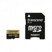 Памет Transcend 64GB microSDHC UHS-I (Class 3), MLC, 633x (with adapter) - TS64GUSDU3