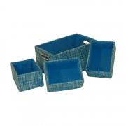 Kastmanden (4-delige set) - rechthoekig, blauw, Flechtwaren Müller