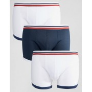 ASOS Trunks In Mesh With Stripe Waistband 3 Pack - Navy/white (Sizes: XL)
