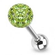 Tongpiercing met swarovski multi crystal met Epoxy groen