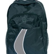 Раница с джоб за лаптоп, черна със сива ивица