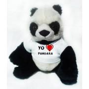 Panda de peluche (juguete) con Amo Pandara en la camiseta (nombre de pila/apellido/apodo)