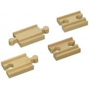 """Wooden Railway 2"""" Mini Straight Track Expansion Accessories 4 Pieces (Brio, Thomas, Big Jigs, Elc And Others Compatible)"""