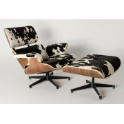 Replica Eames lounge chair+ottoman - Black Cowhide Leather