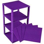 Premium Purple Stackable Base Plates - 4 Pack 6 x 6 Baseplate Bundle with 30 Purple Bonus Building Bricks (LEGO Compat