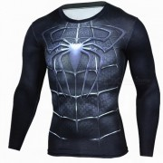 Al aire libre camiseta del deporte de los hombres de la manga larga del modelo del hombre arana - negro (m)