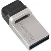 Флаш памет Transcend, 32GB, JetFlash 880 On-The-Go for ANDROID, USB 3.0, Сребриста, TS32GJF880S