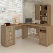 Mesa Para Escritório com 2 Gavetas ME4129 Amêndoa