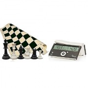 Tournament Chess Set - 34 Chess Pieces - Black Chess Board (20 x 20 Vinyl Rollup) - DGT Black Easy Chess Timer Game Clock - ChessCentral's Play Chess - Have Fun! E-Book