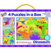 Set 4 puzzle-uri Dinozauri 12 16 20 24 piese