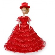 Red Bridal Wedding Gown Lace Polka Dots Dress with Hat for Barbie Dolls