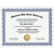 Mountain Biker Mountain Biking Bike Degree: Custom Gag Diploma Doctorate Certificate (Funny Customized Joke Gift Novelty Item)