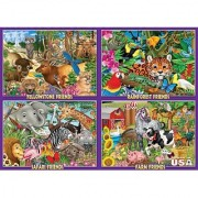 White Mountain Puzzles Animal Friends 4-in-1 Box - 100 Piece Jigsaw Puzzle