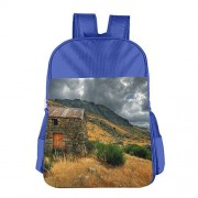 Stone House In The Mountains Unisex School Backpack Bag Kids Book Bags Outdoor RoyalBlue