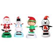 2014 Version -1 Snowman 1 Santa Claus on Chimney 1 Elf 1 Penguin Christmas Solar Powered toy Set of