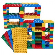 Premium Big Briks Blue Green Red and Yellow Baseplate Tower Construction Set - 96 Pack Bundle (Big LEGO DUPLO Compati