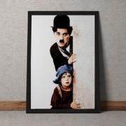 Quadro Decorativo Charles Chaplin E Menino Colorido 35x25