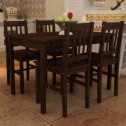 vidaXL Drevený jedálenský stôl so 4 stoličkami, hnedý