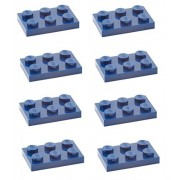 Lego Parts: Plate 2 x 3 (PACK of 8 - Dark Blue)