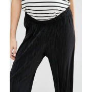 ASOS Maternity Crop Plisse Wide Leg Trouser - Black