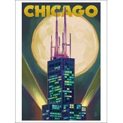 Chicago, Illinois Willis Tower And Full Moon (Playing Card Deck 52 Card Poker Size With Jokers)