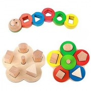 Rolimate Educational Preschool Wooden Shape Color Recognition Geometric Board Block Stack Sort Chunky Puzzle Toys Birthday gifts toy for age 2 3 4 Years Old and Up Kid Children Baby Toddler Boy Girl