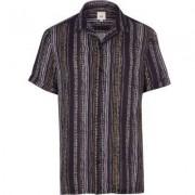 River Island Navy aztec stripe short sleeve shirt