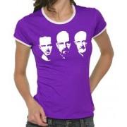 Touchlines Kontrast T-shirt Walter Jesse Mike Faces Girlie Ringer Camiseta, color lila, talla 36