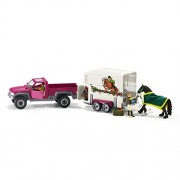 Schleich North America Pick Up with Horse Trailer Playset