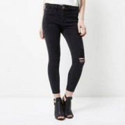 River Island Womens Petite Black Molly ripped jeggings