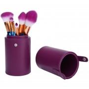Louiwill Maquillaje Titular De Cepillo De Cuero Cepillo De Almacenaje Del Organizador Del Caso -Purple