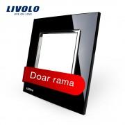 Rama priza simpla Livolo din sticla, negru