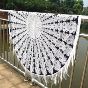 rosegal Mandala Printed Tasseled Tablecloth Round Beach Throw