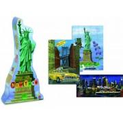 Vilac - 8640 - Puzzle En Bois - Puzzles New York Par Nathalie Lété - Boîte Statue De La Liberté - 40 Pièces