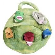 Plush Dinosaur House with Dinosaurs - Five (5) Stuffed Animal Dinosaur in Play Dinosaur Carrying Case