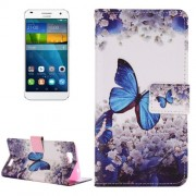 For Huawei Ascend G7 Butterfly & Flower Pattern Horizontal Flip Leather Case with Holder & Card Slots & Wallet