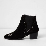 River Island Black studded western boots