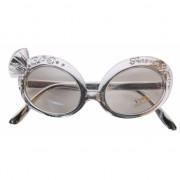 Zilveren party bril met diamant