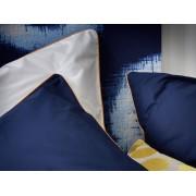 BLANC CERISE Taie d'oreiller carrée bicolore - percale (80 fils/cm²) - blanc et indigo, passepoil safran