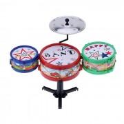Pequeno Jazz Drum Set ninos electronicos de plastico de juguete de regalo - Rojo + Azul