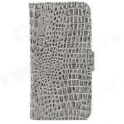 Crocodile Skin Style Protective PU Leather Case for Iphone 5 - Gray Black