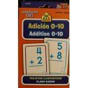 School Zone Bilingual Spanish English Addition Facts 0-10 Flash Cards Grades 1-2