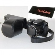 TechCare Ever Ready Protective Camera Leather Case Cover for Canon PowerShot SX500 IS/Canon PowerShot SX510 HS- Black