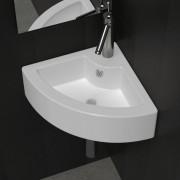 vidaXL Керамична мивка за баня с преливник и отвор смесител, ъглова, бяла
