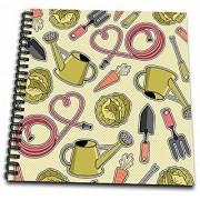 3dRose Cute Gardening Gardener Pattern Green - Memory Book 12 by 12-Inch (db_172129_2)